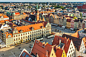 View from the tower of the St. Elizabeth Church on the Rynek marketplace and to the Wroclaw Old Town Hall. The Gothic building is one of the main landmarks of the city. It was built in the 13th century, Rynek, Wroclaw, Voivodeship Lower Silesian, Poland,