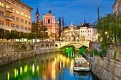 Ljubljana at evening time, Slovenia.