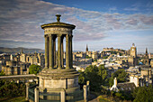 Early morning at Dugald Stewart Monument - view from Calton Hill over Edinburgh, Scotland.