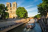 Parisians along River Seine, below Cathedral Notre Dame celebrate Fête de la Musique - annual city-wide music festival each June 21st, Paris, France.