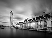 County Hall and The EDF Energy London Eye, London, England.