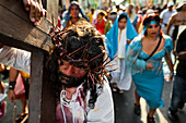 A Peruvian actor Mario Valencia, known as Cristo Cholo, performs as Jesus Christ in the Good Friday
