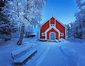 Small Wooden Church in Jukkasjarvi, Lapland, Sweden.