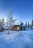 Log Cabin and snow covered trees in extreme cold temperatures, Lapland, Sweden.