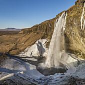 Seljalandsfoss Waterfall in the Winter, Iceland.