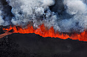 Lava fountains at Holuhraun Fissure eruption near Bardarbunga Volcano, Iceland. Picture Date- Sept. 2, 2014. On August 29, 2014, a fissure eruption started in Holuhraun at the northern end of a magma intrusion that had moved progressively north, from the