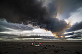 Scientific equipment-Volcanic Plumes with toxic gases, Holuhraun Fissure Eruption, Iceland.