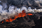 Volcano Eruption at the Holuhraun Fissure near Bardarbunga Volcano, Iceland. Aerial view of lava and plumes. August 29, 2014 a fissure eruption started in Holuhraun at the northern end of a magma intrusion, which had moved progressively north, from the Ba