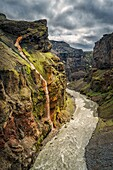 Markarfljot river canyon, a glacial river, located on the South Coast of Iceland.