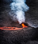 Lava and plumes from the Holuhraun Fissure by the Bardarbunga Volcano, Iceland.