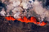 Volcano eruption at the Holuhraun Fissure near the Bardarbunga Volcano, Iceland. August 29, 2014, a fissure eruption started in Holuhraun at the northern end of a magma intrusion which had moved progressively north, from the Bardarbunga volcano. Picture d