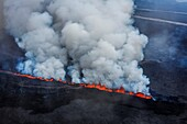 Lava and plumes from the Holuhraun Fissure by the Bardarbunga Volcano, Iceland. August 29, 2014, a fissure eruption started in Holuhraun at the northern end of a magma intrusion which had moved progressively north, from the Bardarbunga volcano. Picture da