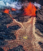 Plane flying over the eruption site at Holuhraun. August 29, 2014 a fissure eruption started in Holuhraun at the northern end of a magma intrusion, which had moved progressively north, from the Bardarbunga volcano. Bardarbunga is a stratovolcano located u