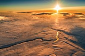 Sunset over riverbed in the Central Highlands, Iceland.