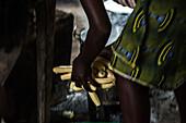 Local washing bananas, Sao Tome, Sao Tome and Principe, Africa