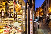 Gourmet, delicatessen shop in Alba during the Truffel Fair, Alba, Piedmont, Cuneo, Italy