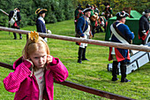 Baroque Days, young visitor, girl, exhibition, performance, historic costumes, Bückeburg Palace, Schaumburg, Lower Saxony, Germany