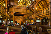 Hahnenklee, interior timber Stabe church, Lutheran, Norwegian copy, Harz Mountains, Lower Saxony, Germany
