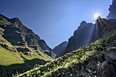 Mood of light in narrow valley, Rhino Peak, Garden Castle, Mzimkhulu Wilderness Area, Drakensberg, uKhahlamba-Drakensberg Park, UNESCO World Heritage Site Maloti-Drakensberg-Park, KwaZulu-Natal, South Africa