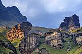 Bizarre rock formations in last sunlight, Garden Castle, Mzimkhulu Wilderness Area, Drakensberg, uKhahlamba-Drakensberg Park, UNESCO World Heritage Site Maloti-Drakensberg-Park, KwaZulu-Natal, South Africa