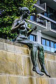 Sculptures of naked women on the Spree riverbank in Berlin.