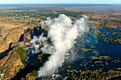Aerial view of Zambezi River Batoka Gorge and Victoria Falls. Livingstone. Zambia.