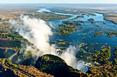 Aerial view of Zambezi River and Victoria Falls. Livingstone. Zambia.