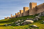 Puerta del Carmen Gate and Medieval City Walls, Avila, Castile and Leon, Spain. UNESCO World Heritage Site.