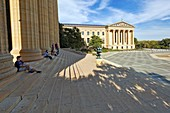 Sitting on the Rocky Steps, Philadelphia Museum of Art, Philadelphia, Pennsylvania.