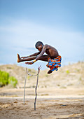Mucubal people are a subgroup of the Herero ethnic group, which means they are bantu speaking, and are supposed to have come from Kenya and to be related with Massais. They are semi nomadic pastoralists living of cattle raising and agriculture. They live