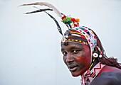 Portrait Of Rendille Warrior Wearing Traditional Headwear, Turkana Lake, Loiyangalani, Kenya.