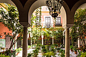 An inner courtyard of a typical old residential building in the historical centre, Seville, Andalusia, province Seville, Spain