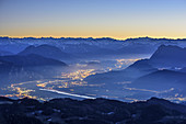 Kufstein and valley of Inn at night, Kitzbuehel Alps and Tauern in background, Spitzstein, Chiemgau Alps, Chiemgau, Upper Bavaria, Bavaria, Germany