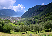 view near Tenno over Riva, Northern lake Garda, Trentino, Italy