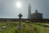 Foggy afternoon at the lighthouse on Lundy Island, Devon, England, United Kingdom.