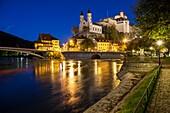 Evening at Aarburg castle, canton Aargau, Switzerland.