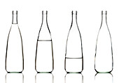 Bottles of water on a white background.