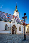 'The colourful Church of St. Mark is one of the oldest buildings in Zagreb and of its symbols. It is first mentioned in the list of parish churches in the Kaptol Statute of 1334.It was built in the 13th century; from that first, Romanesque period, only a