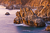 Evening light on the Big Sur coast, Julia Pfeiffer Burns State Park, California USA.