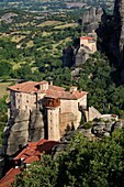 Greek orthodox monasteries of Rousanou (Saint Barbara) and Saint Nicholas of Anapafsas. Greece, Central Greece, Thessaly, Meteora monasteries complex, listed as World Heritage by UNESCO.