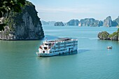 Cruise ship in Cang Do area a part of Halong Bay world heritage location,Vietnam.