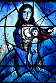 Tudeley, Tonbridge, Kent, UK. All Saints Church. Stained Glass Window by Marc Chagall in memory of Sarah d´Avigdor Goldsmid, commissioned by her parents after she drowned at 21. This was the original window he was engaged to produce, but after seeing the