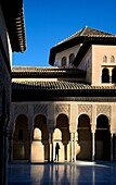 Spain, Andalusia (Andalucia), Granada, the Alhambra Palace, listed as World Heritage by UNESCO, built between 13th and 14th century by the Nasrid Dynasty, Islamic architecture, Nasrid Palaces (Palacios Nazaries), the Court of the Lions (Patio de los Leone