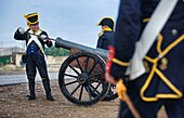 BADAJOZ REGION, SPAIN - MAY 18: Re-enactment of Albuera battle between French and allied nations armies (England, Spain and Portugal), in 1811. May 18, 2013 in La Albuera, Badajoz, Spain.