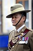 Gurkha soldier with uniform and medals. Maidstone, Kent, England. Civic Day Parade to honour the election of the new Mayor of Maidstone, Councillor Richard Thick. A military parade through the town is followed by a service at All Saints Church. Soldier re