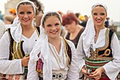 Young Girls in traditional Serbian folklore dress,participants in the International folklore festival,Belgarade,Serbia.