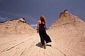 Woman at the geological formation near the village of Potamida, Chania Region, Crete, Greek Islands, Greece, Europe.