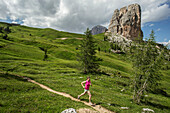 Runner pushes it around the Cinque Torre in the famous and beautiful Dolomites