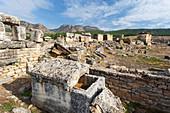 'Grave monuments, Necrolopis; Pamukkale, Turkey'