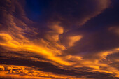 'Dramatic colourful clouds at sunset with interesting formations and some blue sky; Calgary, Alberta, Canada'